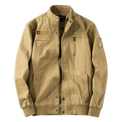 跨境专供秋冬男装外套男水洗纯棉军工加绒加厚短款夹克大码外衣服