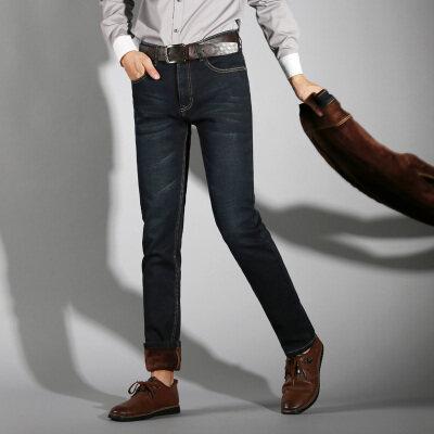 009A加绒牛仔直筒 裤