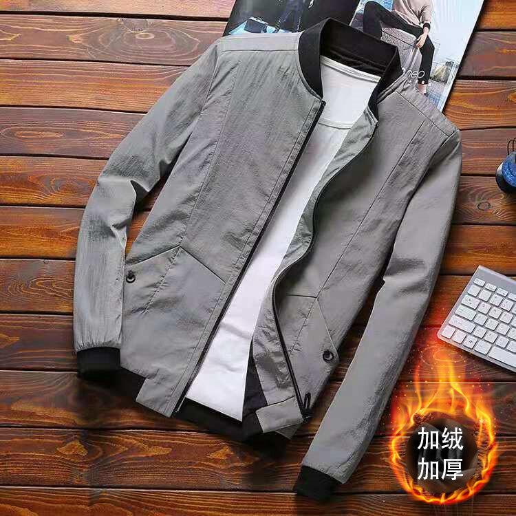 2020新款男士外套青少年韩版修身休闲夹克加绒款秋冬男装外