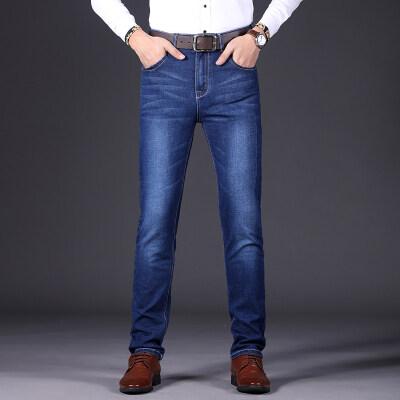 秋季商务牛仔裤男直筒宽松2018新款大码男士休闲青年牛仔长裤