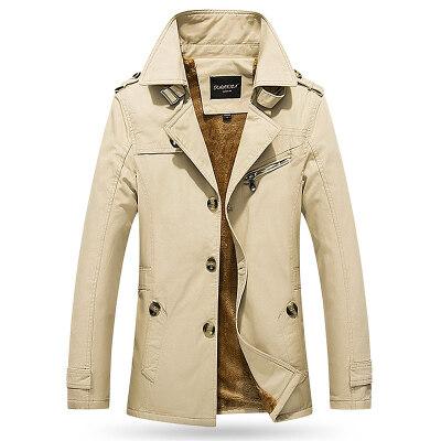 春秋中长款风衣英伦风外套加绒风衣加厚大码军工夹克外套