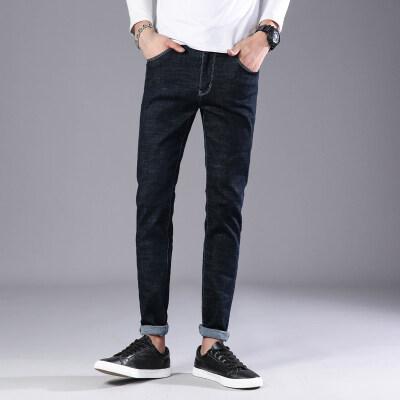 2018新款秋冬季男士牛仔裤韩版潮流弹力修身小直筒男式牛仔裤