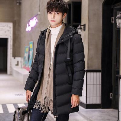 中长款棉衣男加厚保暖冬季新品男士韩版修身青年连帽棉服大衣外套