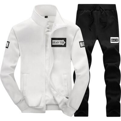 D75运动套装男开衫2019新款薄款箭头休闲裤卫衣长裤两件套