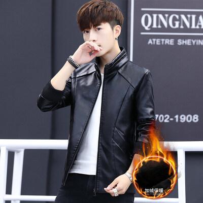 皮衣男加绒保暖2018冬季新款男士韩版修身立领PU皮仿皮上衣外套潮