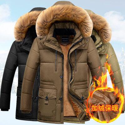 冬季棉衣男中老年18新款加绒加厚中长款可脱卸帽爸爸冬装外套
