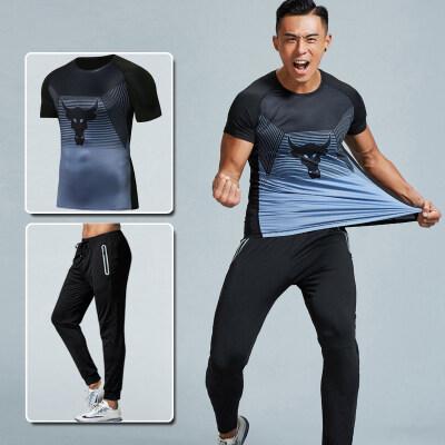 厂家直销新款夏季跑步健身运动两件套男士时尚修身运动套装批发潮