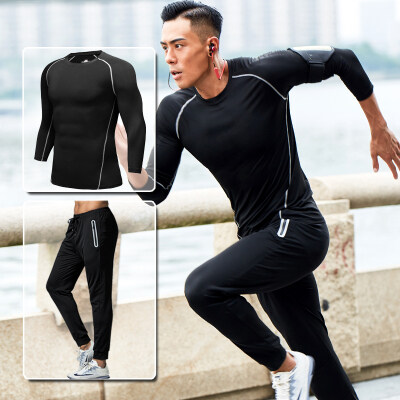 厂家直销新款夏季纯色透气健身套装男款运动长袖体恤一件代购批发