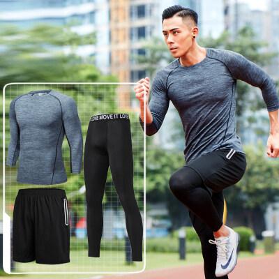 定制LOGO男士青年速干透气跑步健身七分袖三件套运动健身套装