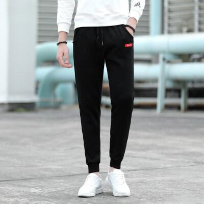 束脚裤男潮牌男生裤子韩版潮流百搭加大码休闲裤男士针织长裤