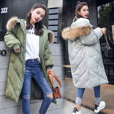 高端大气棉服女中长款2018冬装新款韩版宽松轻薄棉袄毛领棉衣