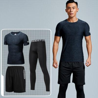 厂家直销新款男款透气速干运动健身三件套男士健身服装潮一件代购