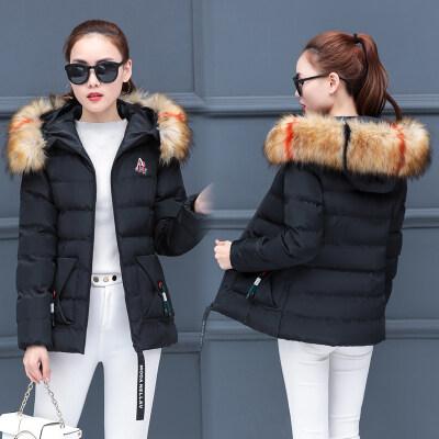 图荣棉衣女冬季新款棉袄韩版可卸毛领连帽短款棉服外套女跨境货源