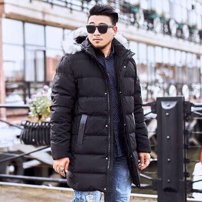 【260斤可穿】大码男装冬季男士韩版休闲毛领连帽加肥加厚棉衣