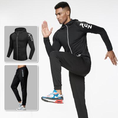 厂家直销男士青年时尚运动健身两件套透气纯色速干健身套装批发潮