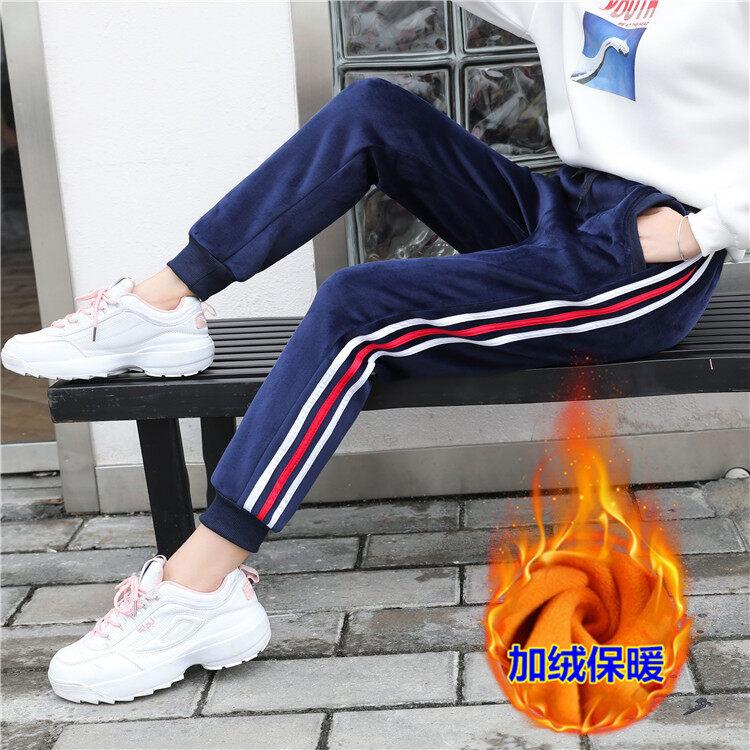 加厚金丝绒加绒运动裤女裤秋冬新款卫裤宽松休闲裤长裤BF风哈伦