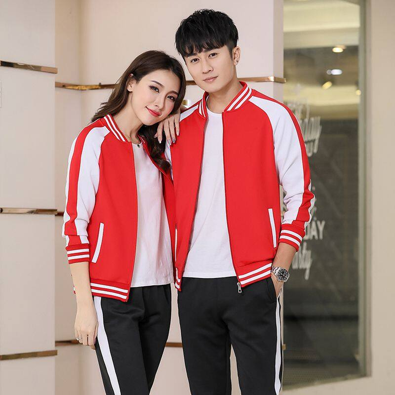 秋季新款情侣运动套装男士跑步运动套装女款长袖休闲棒球运动套装