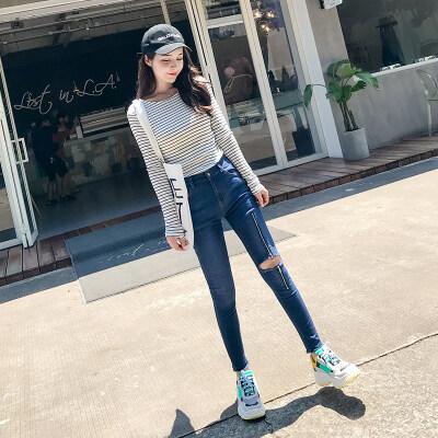 黑色破洞牛仔裤女秋2018新款韩版学生紧身小脚社会乞丐弹力九