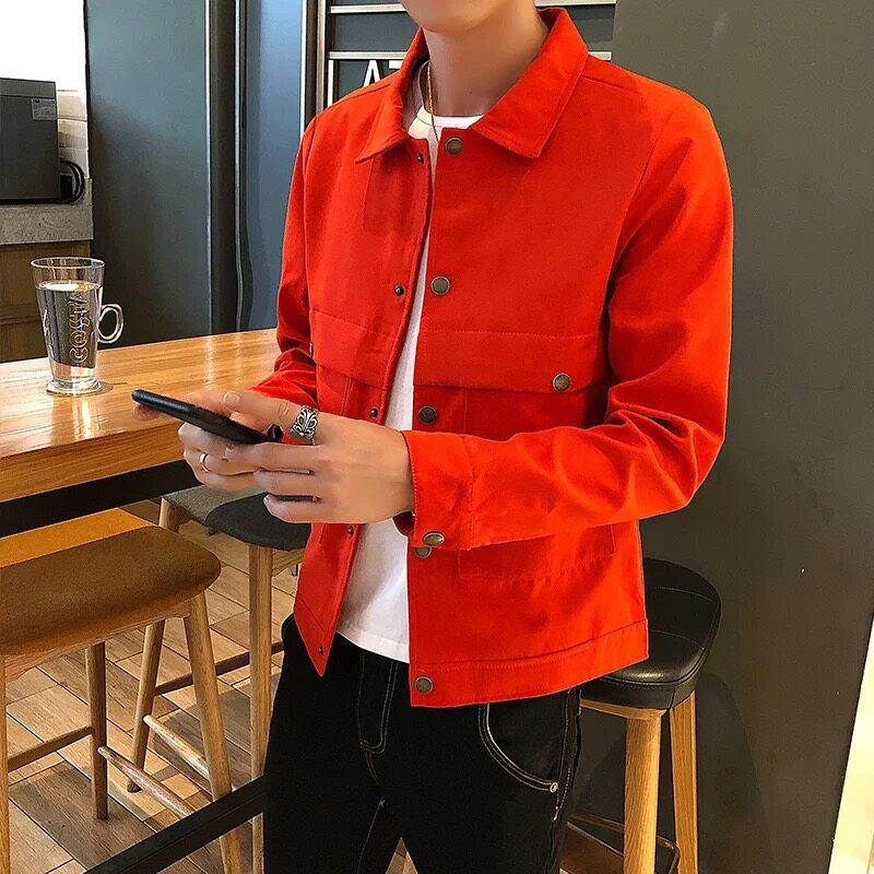 男士外套秋季潮流韩版麂皮绒夹克2020新款秋冬款修身帅气上衣
