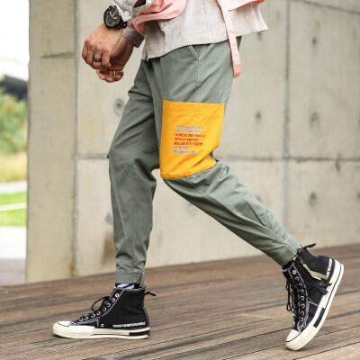 9010撞色工装裤港风九分裤男 两色 桔色 豆绿色