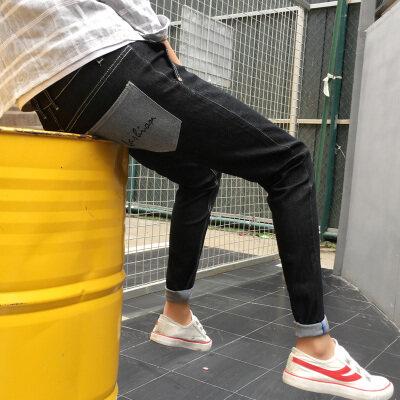 2019新款牛仔裤微弹力长裤港仔裤子男士下装直筒修身ins潮