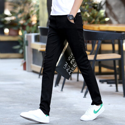 黑色休闲裤弹力直筒修身潮流韩版学生百搭男士下装裤子男小脚