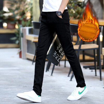 黑色秋冬加绒加厚保暖休闲裤微弹下装裤子男士潮青年修身学生时尚