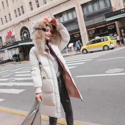 棉服女2018冬装新款韩版百搭外套大毛领连帽加厚中长款学生