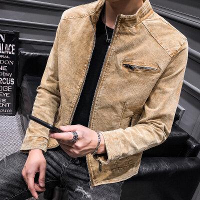 2018秋冬新款韩版修身 纯色棉夹克 青年男士皮衣外套