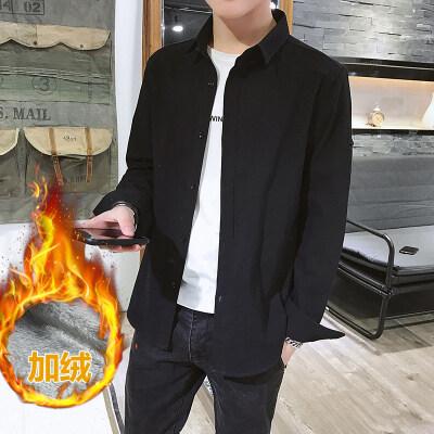 新款纯棉商务大码加绒衬衫男士修身冬季休闲保暖韩版纯色衬衣外套