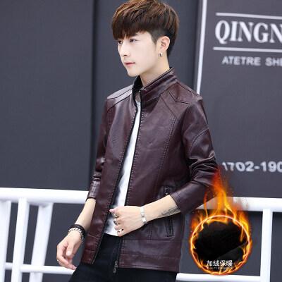 皮衣男加绒秋冬新款男士韩版修身立领休闲PU皮仿皮皮夹克外套