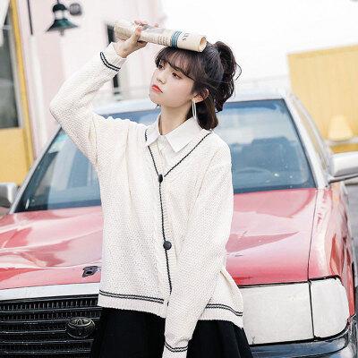 实拍实价2019春季新款女装 韩版宽松简约V领长袖开衫针织毛
