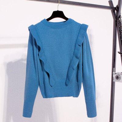 实拍清新木耳边针织衫ins超火网红毛衣女冬季新款106上衣