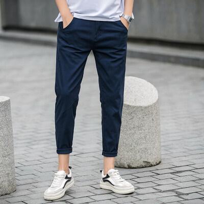 2019春夏季新款潮流男士九分裤男修身休闲裤韩版