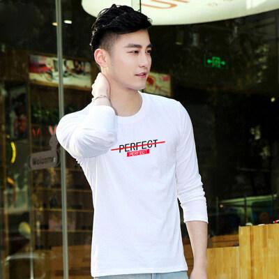 纯棉长袖T恤男春装新款男士韩版修身百搭休闲圆领印花薄款打底衫