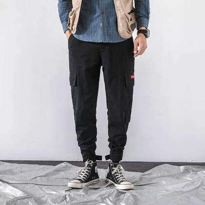 卷帘门 K19400-P55 100%棉 新款大码休闲裤 束脚工装裤