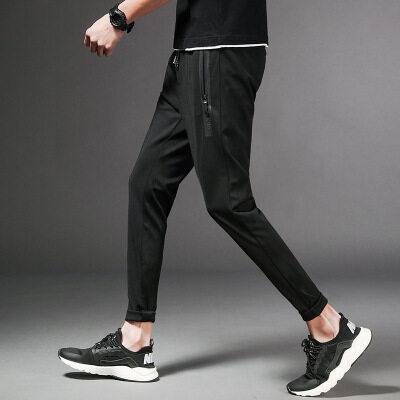 潮流风格休闲裤男夏季薄款九分裤嘻哈裤青年裤子男新品束脚裤子男