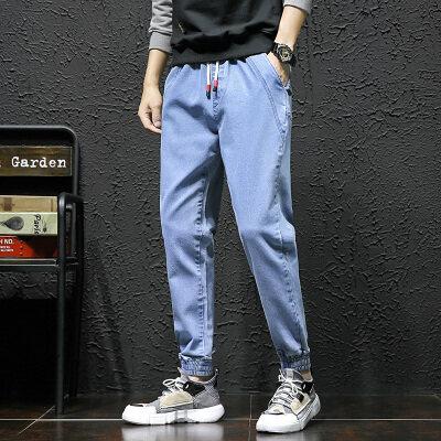 牛仔裤男宽松工装裤男士哈伦小脚束脚裤秋冬款小码休闲系带长裤子