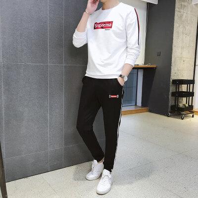 2019新款春季运动套装65棉质套头t桖休闲裤套装纯棉卫衣