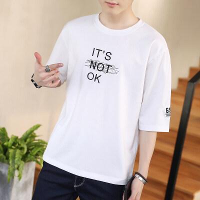 夏季爆款潮牌小清新五分袖T恤男学生休闲纯棉T字母印花