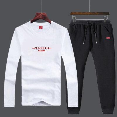 纯棉长袖T恤休闲运动套装男两件套春装新款男士韩版弹性休闲裤