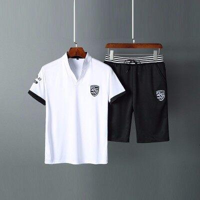 2018夏季短袖套装男休闲T恤运动装男式五分裤短裤休闲潮流两