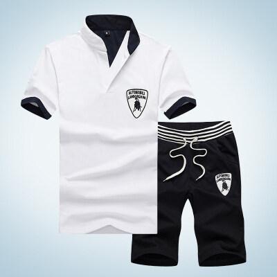 厂家直供2019男士运动套装夏季休闲运动服立领青少年短袖男