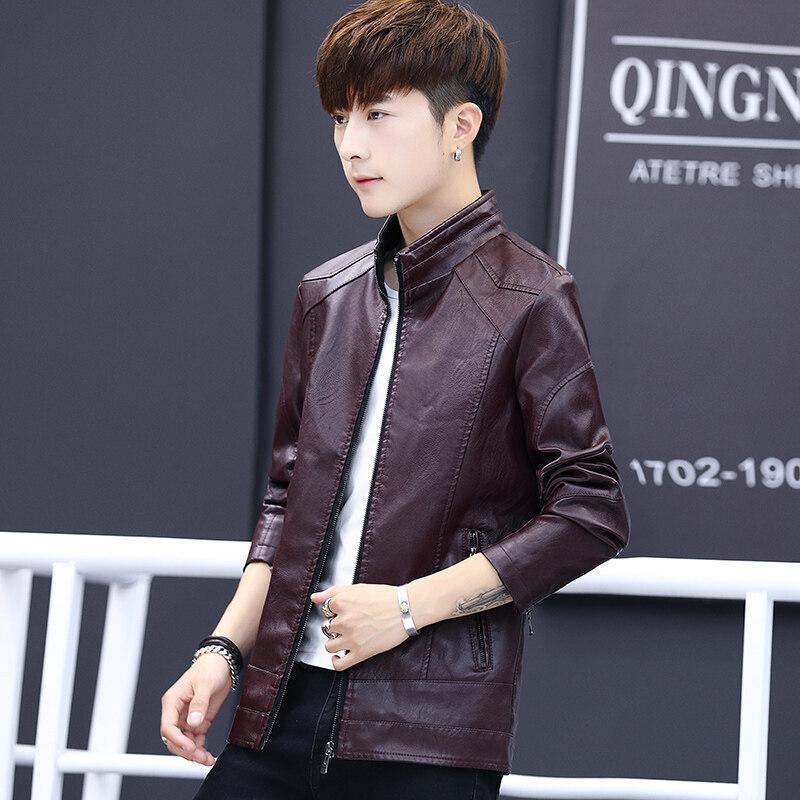 皮衣男薄款2019春季新款男士韩版修身棒球领休闲青年皮夹克外套潮