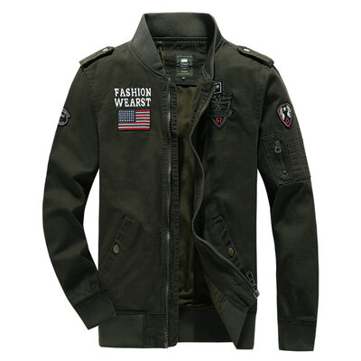 跨境货源吉普纯棉水洗夹克男飞行员休闲工装夹克