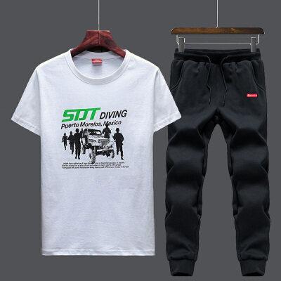 纯棉短袖T恤运动休闲印花套装两件套春夏男士韩版休闲百搭休闲裤