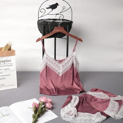 新品真丝睡衣女夏天性感诱惑蕾丝边吊带睡裙带胸垫冰丝绸家居服