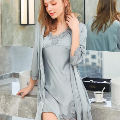 睡衣女夏性感吊带睡裙两件套装冰丝短袖蕾丝带胸垫可外穿夏天薄款