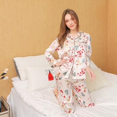 冰丝睡衣女印花春秋夏长袖两件套仿真丝绸吊带性感家居服套装薄