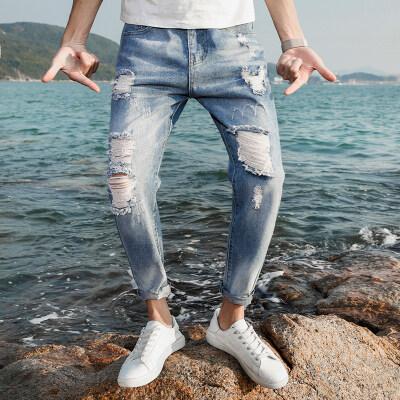 T822#海景图2  九分爆款破洞裤    ( 多风格)